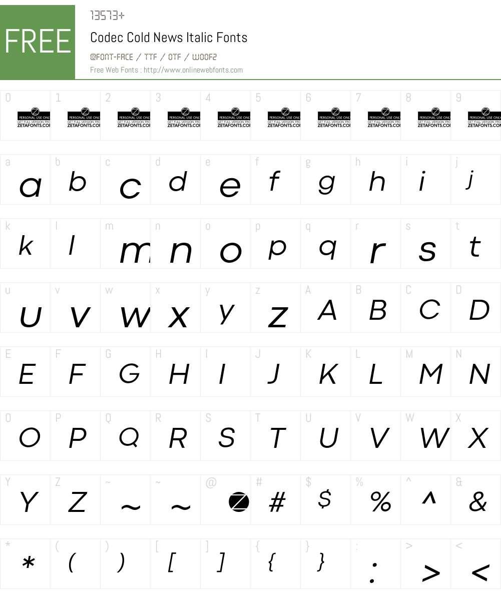 Codec Cold Font Screenshots