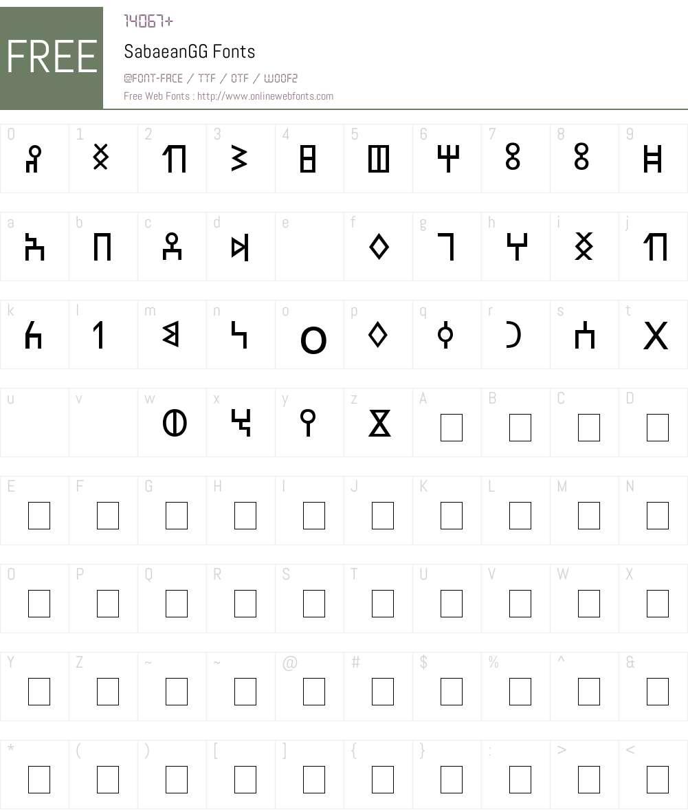 SabaeanGG Font Screenshots