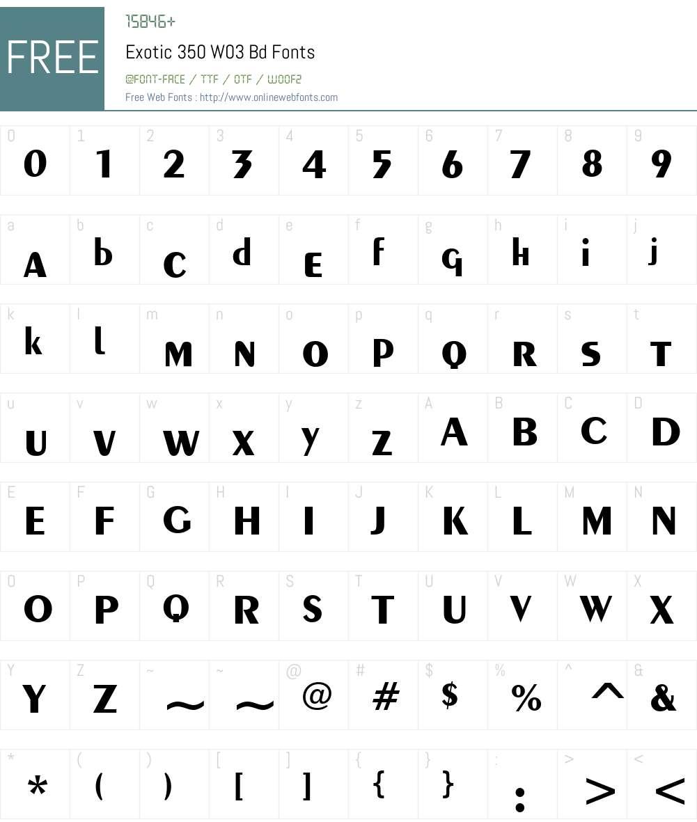 Exotic 350 Font Screenshots