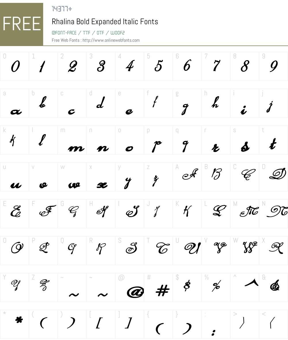 Rhalina Bold Expanded Italic Font Screenshots