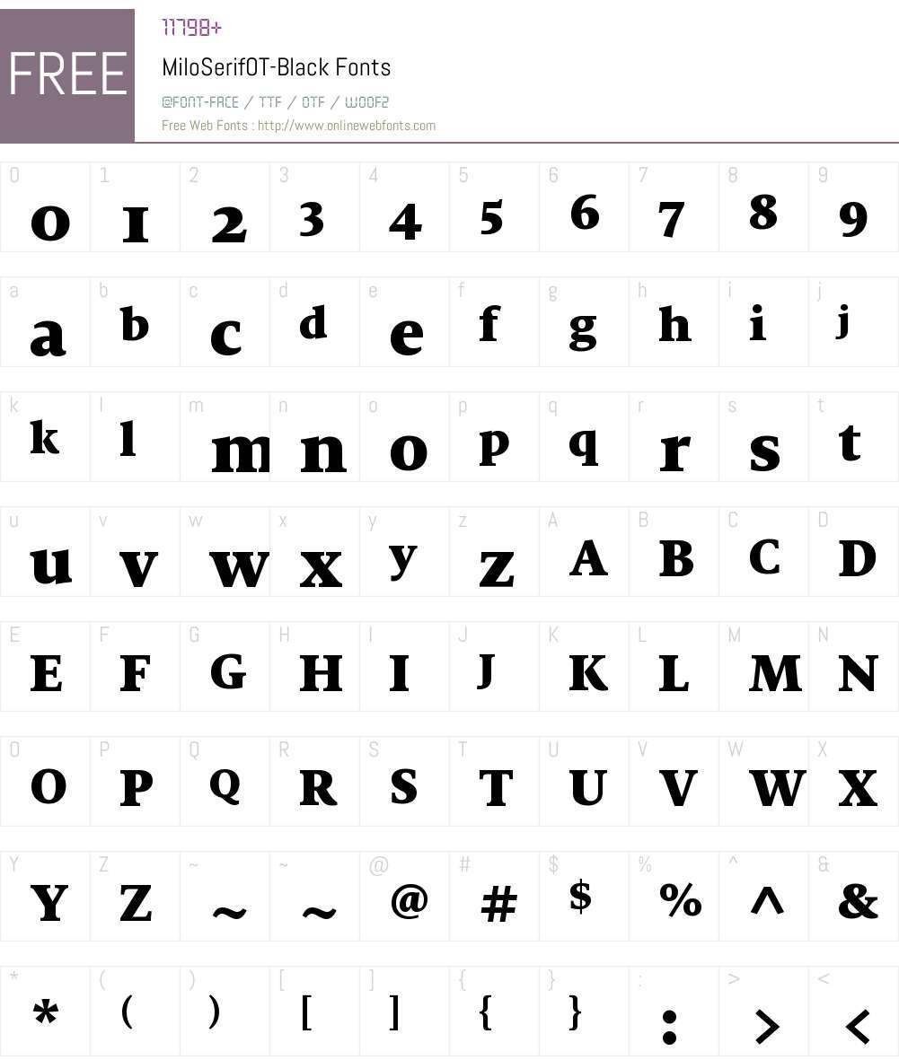 MiloSerifOT-Black Font Screenshots