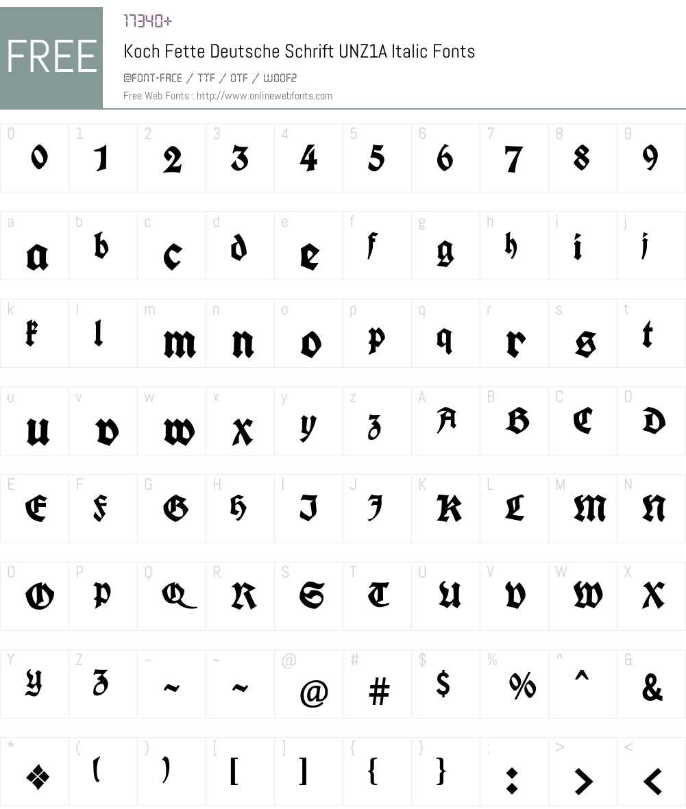 Koch Fette Deutsche Schrift UNZ1A Font Screenshots