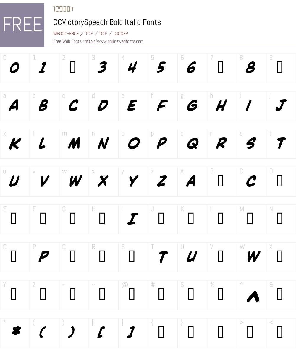 CCVictorySpeech-BoldItalic Font Screenshots