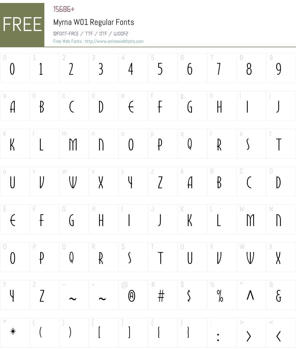 MyrnaW01-Regular Font Screenshots