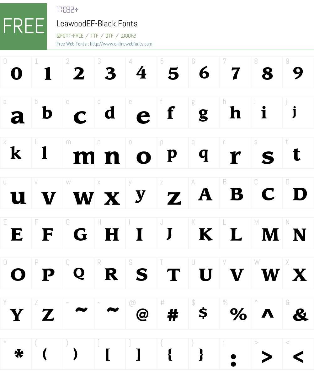 LeawoodEF-Black Font Screenshots