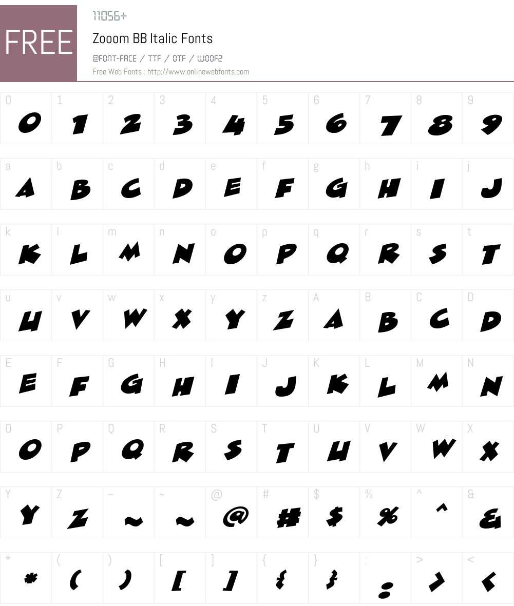 ZooomBB-Italic Font Screenshots