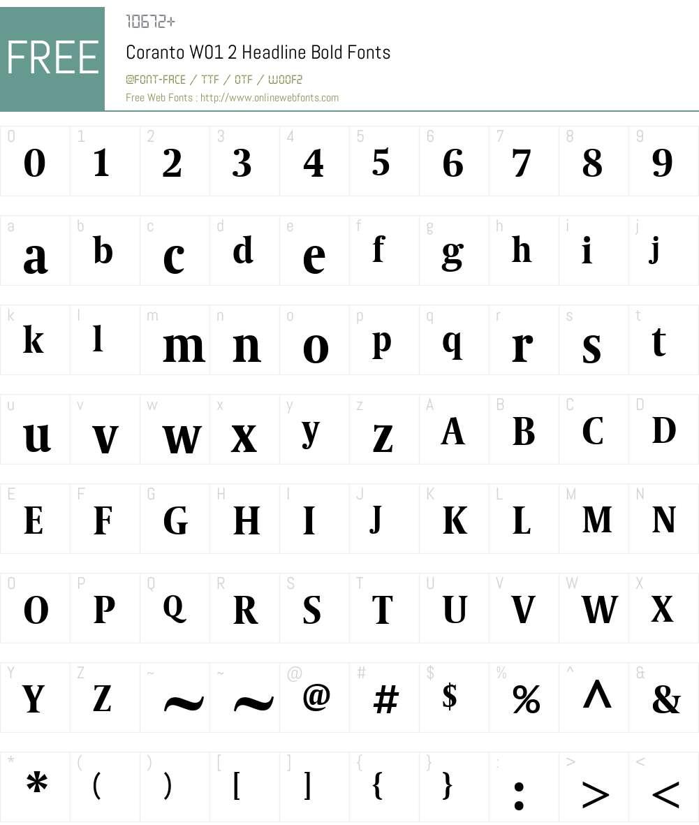 CorantoW01-2HeadlineBold Font Screenshots