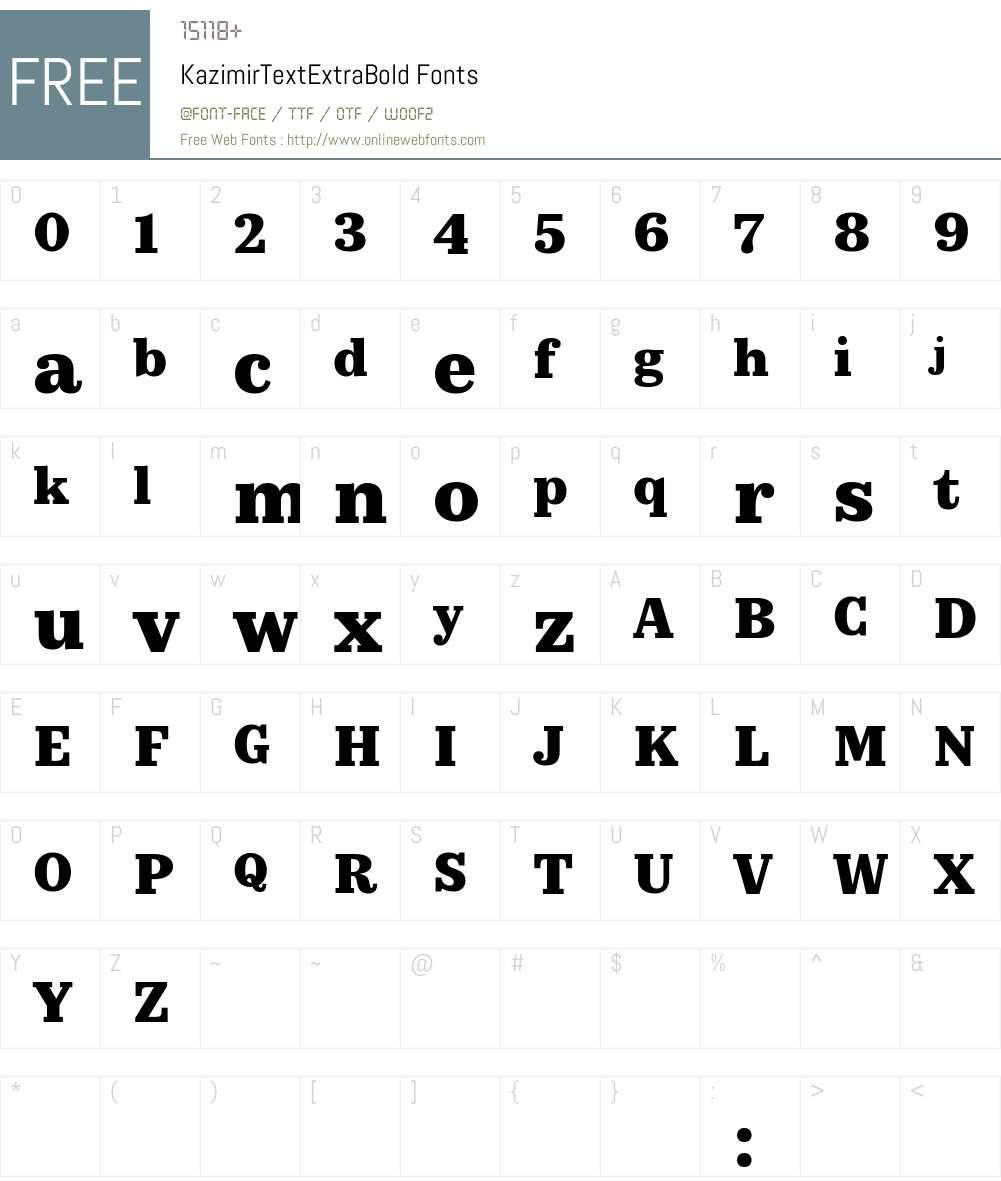 KazimirText ExtraBold Font Screenshots