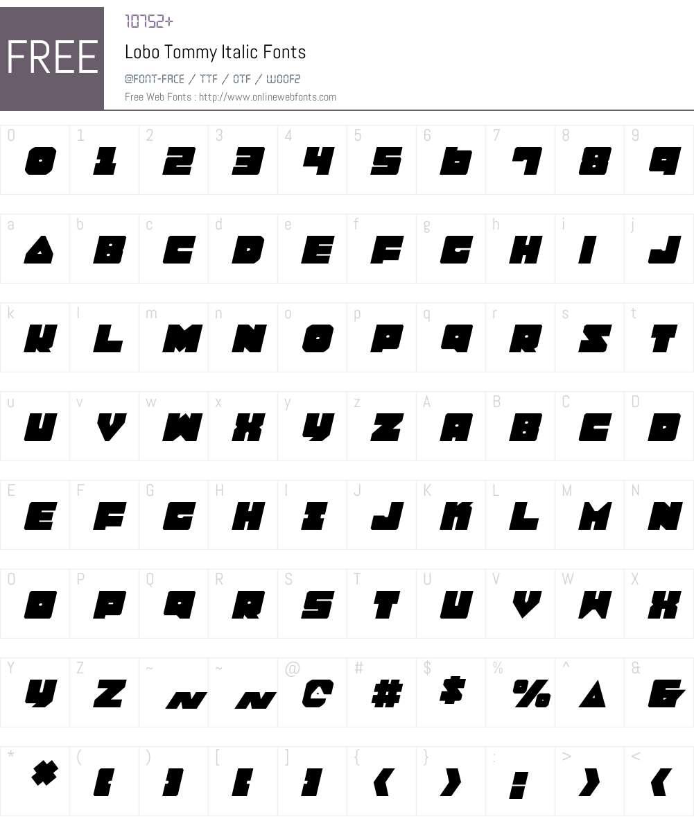 Lobo Tommy Italic Font Screenshots