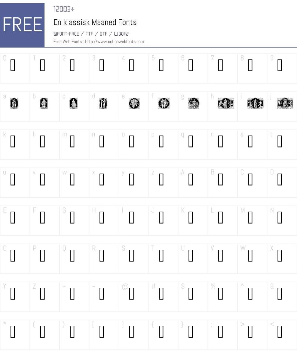 En klassisk Maaned Font Screenshots