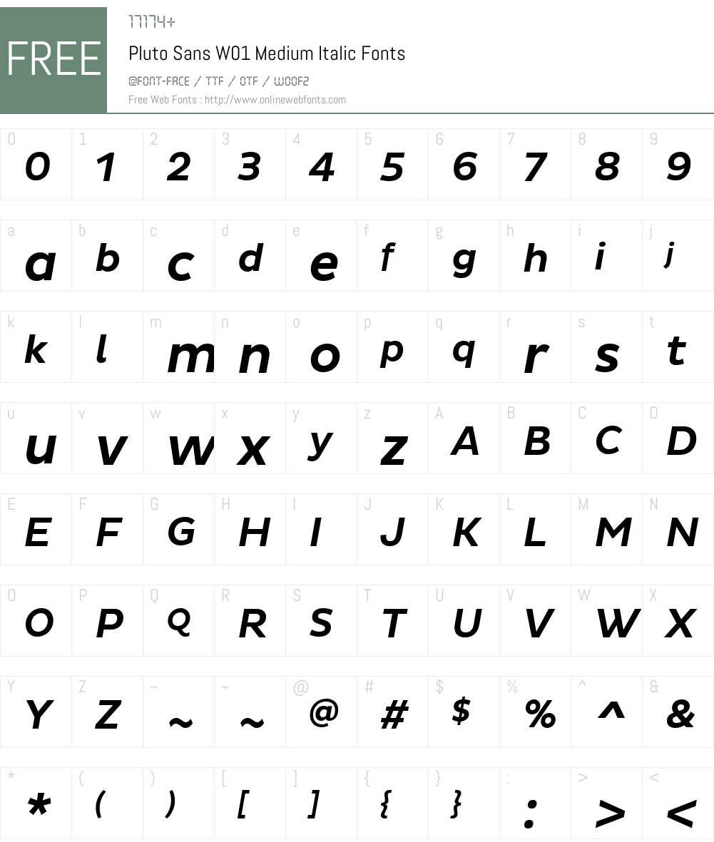 PlutoSansW01-MediumItalic Font Screenshots