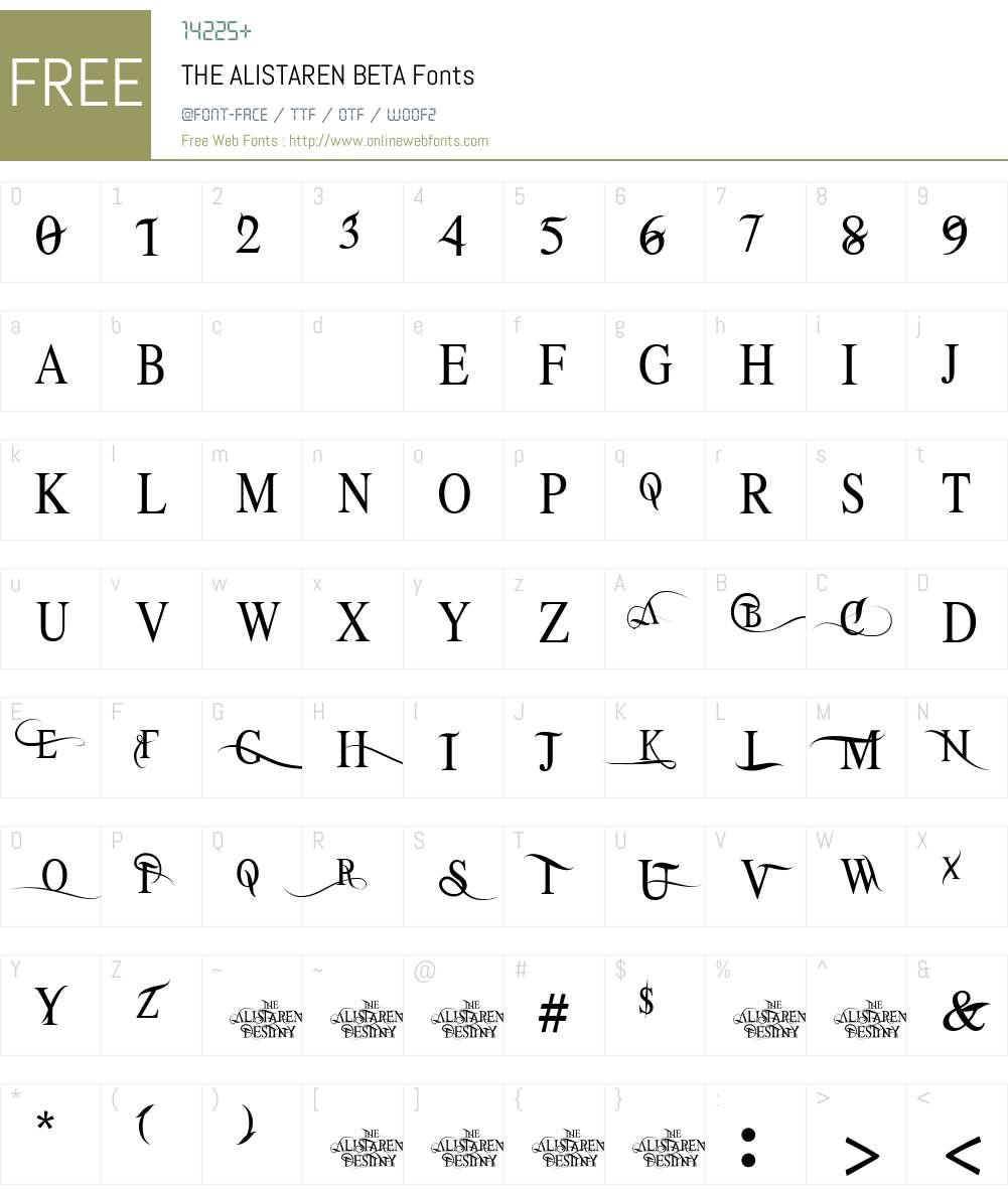 THE ALISTAREN BETA Font Screenshots