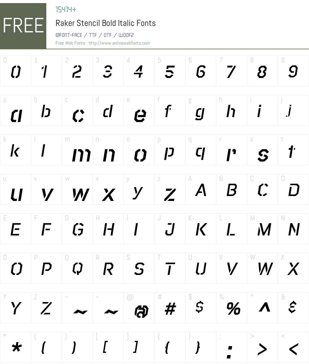 RakerStencil-BoldItalic Font Screenshots
