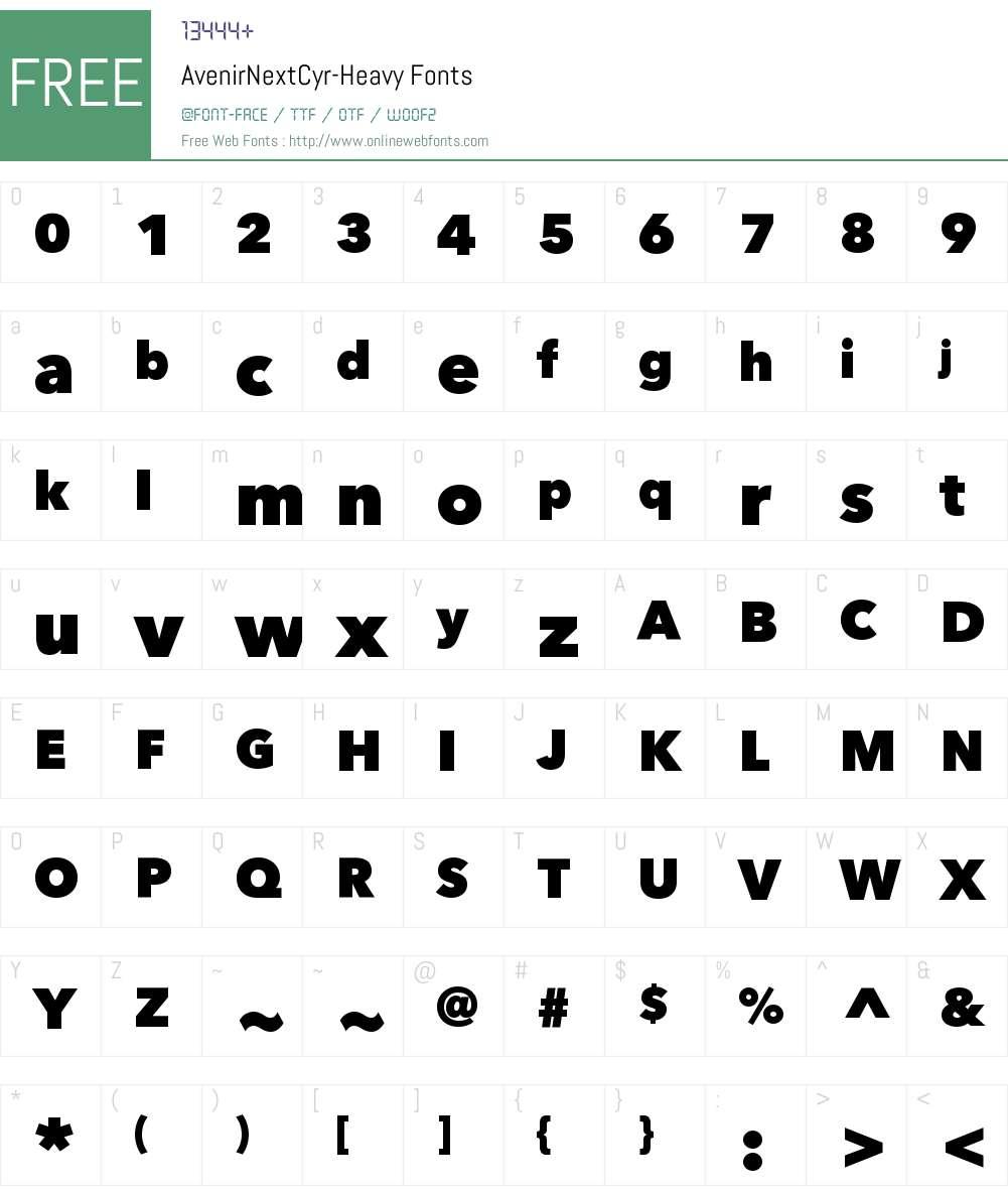 Avenir Next Cyr Heavy Font Screenshots
