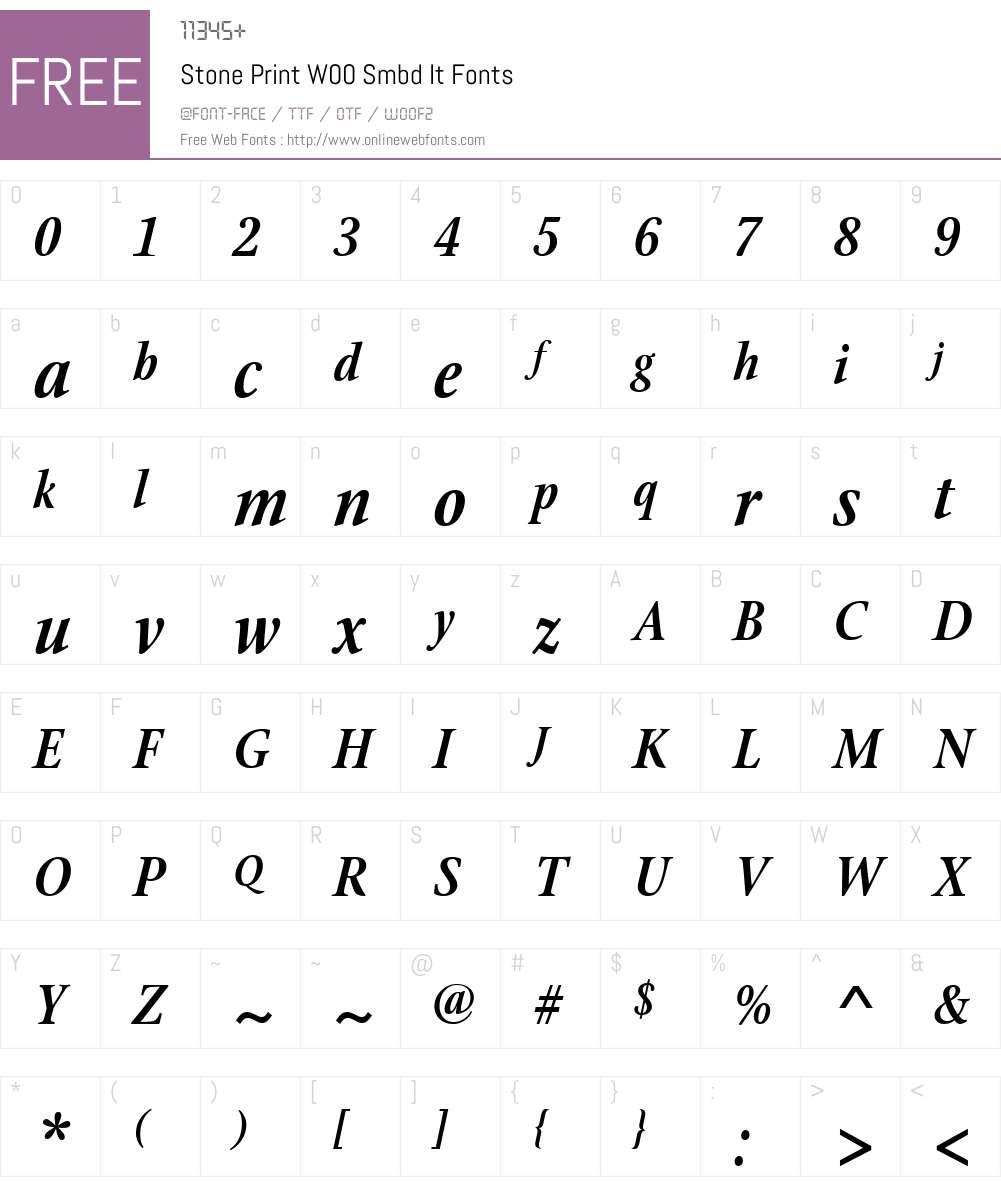 StonePrintW00-SmbdIt Font Screenshots