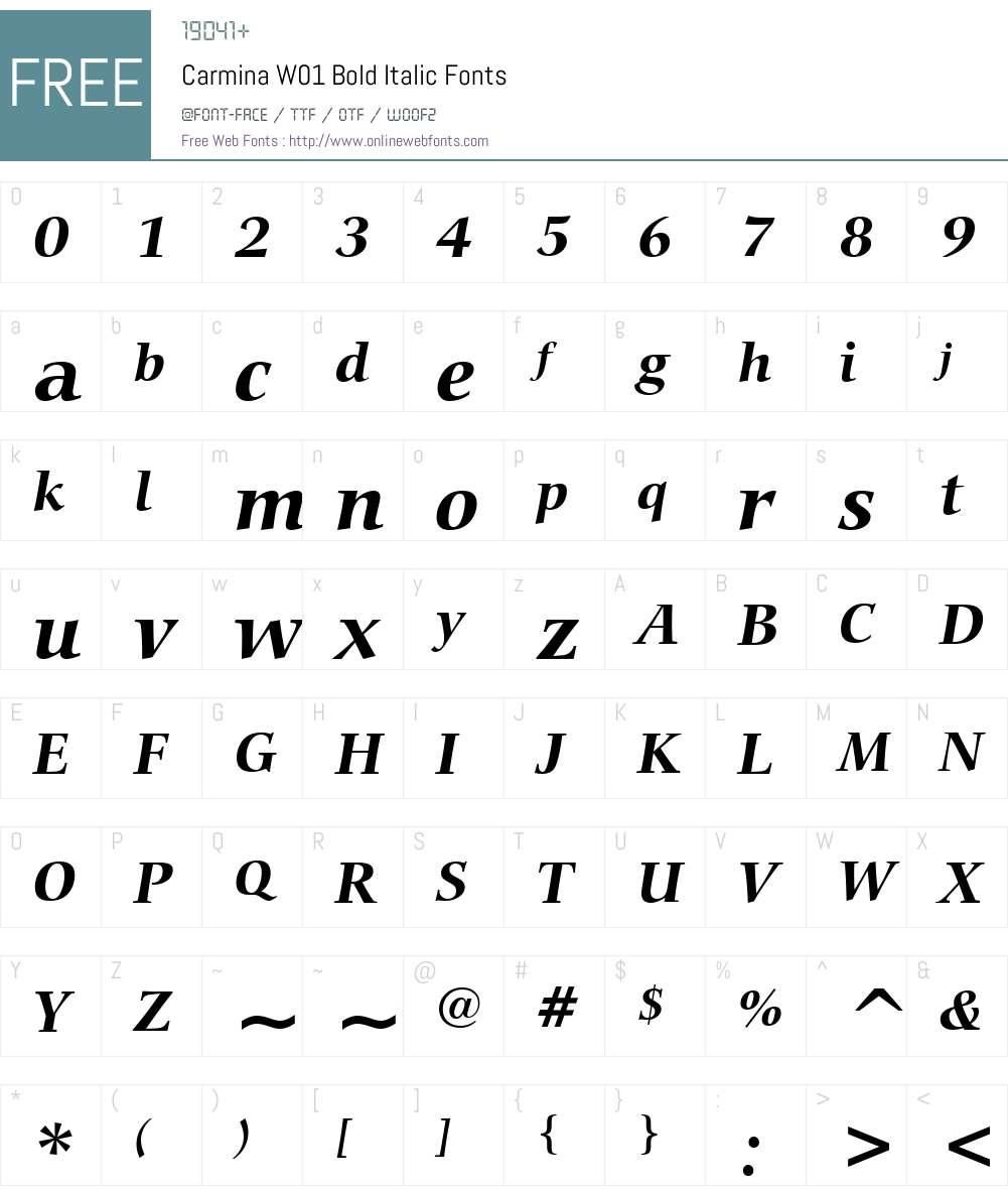 CarminaW01-BoldItalic Font Screenshots