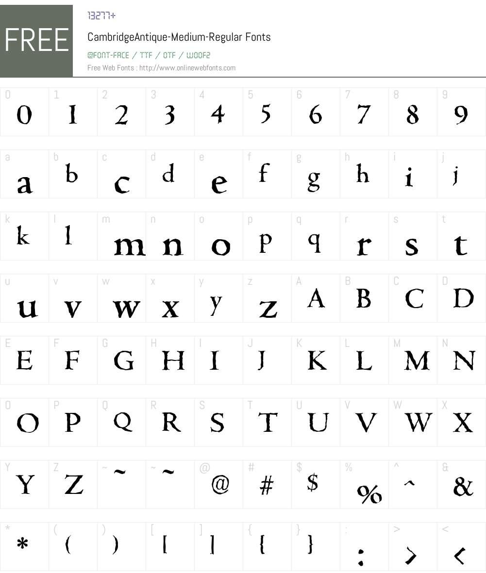 CambridgeAntique-Medium Font Screenshots
