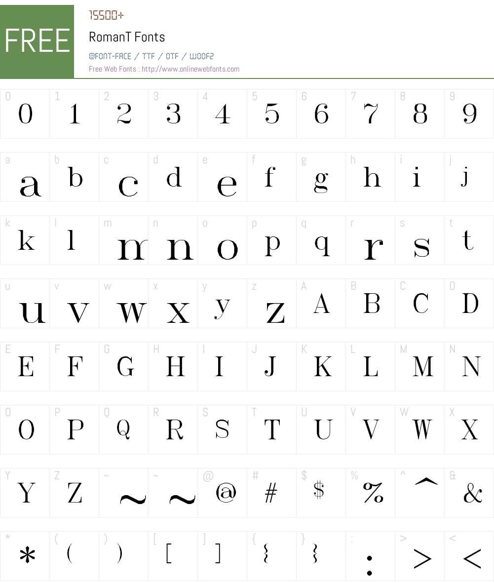 RomanT Font Screenshots