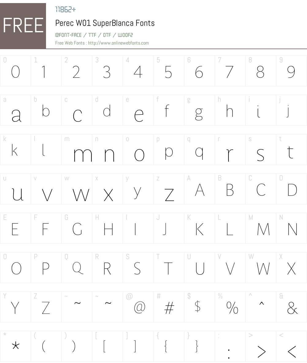 PerecW01-SuperBlanca Font Screenshots