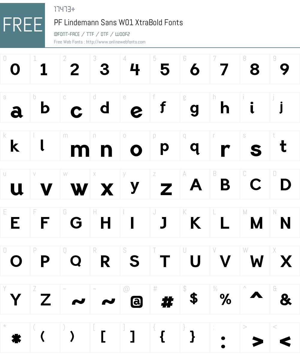 PFLindemannSansW01-XtraBold Font Screenshots