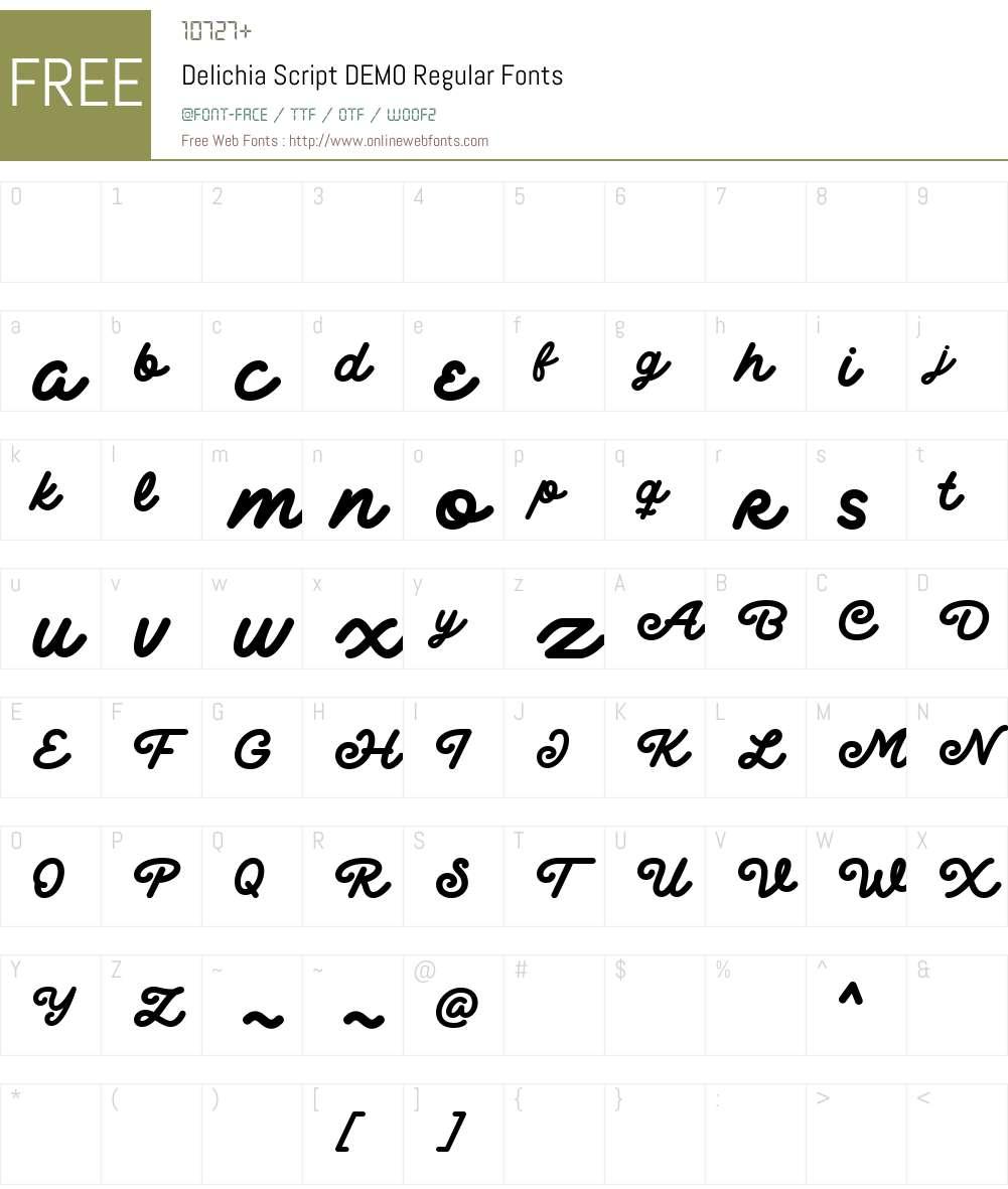 Delichia Script DEMO Font Screenshots