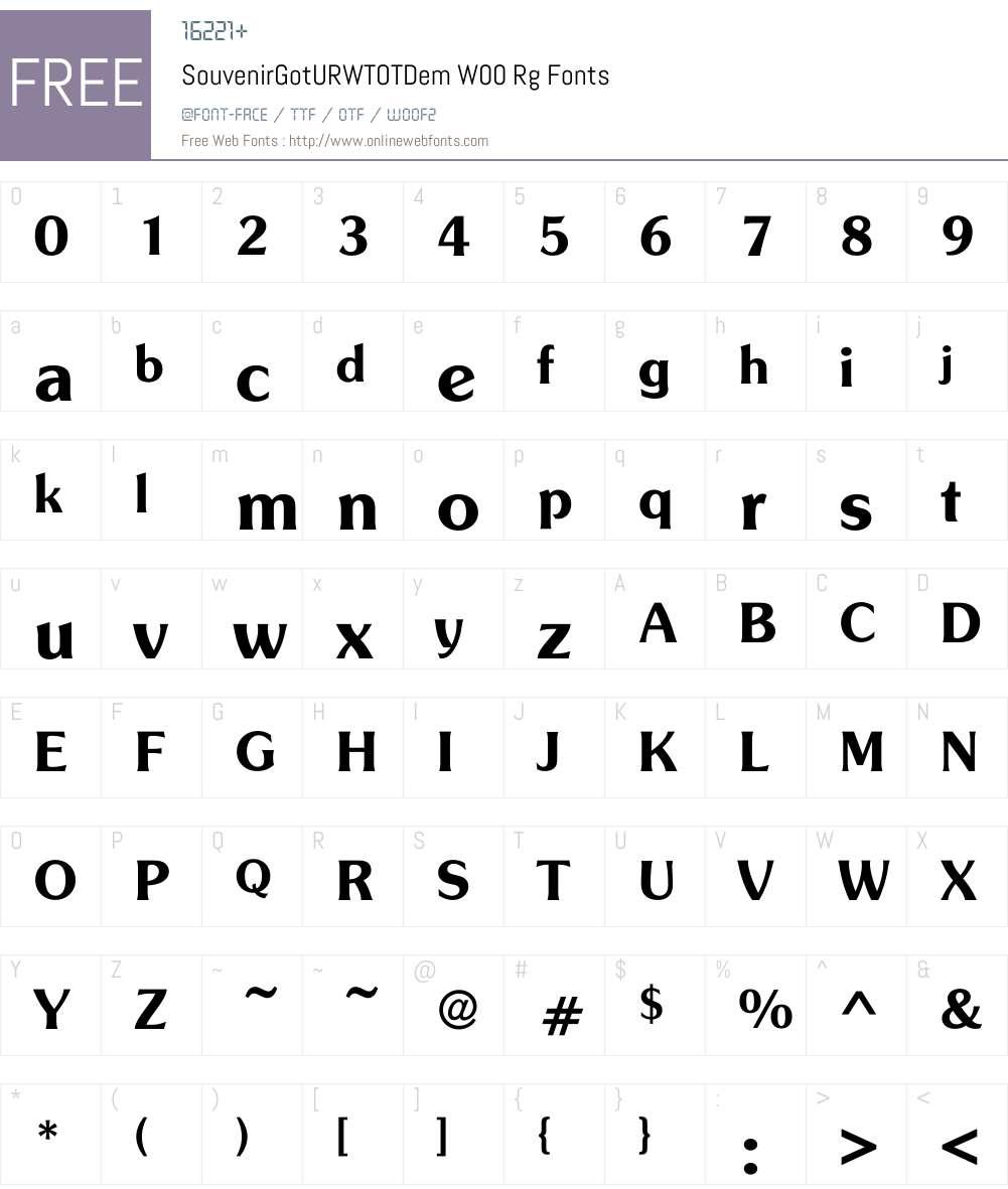 SouvenirGotURWTOTDemW00-Rg Font Screenshots