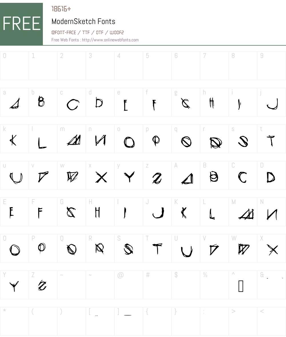 ModernSketch Font Screenshots