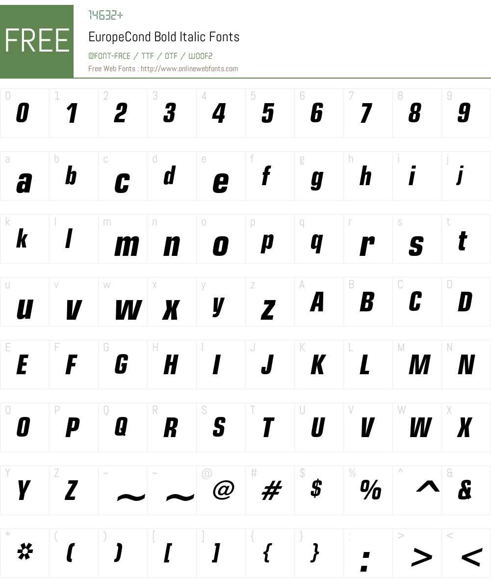 EuropeCond Font Screenshots