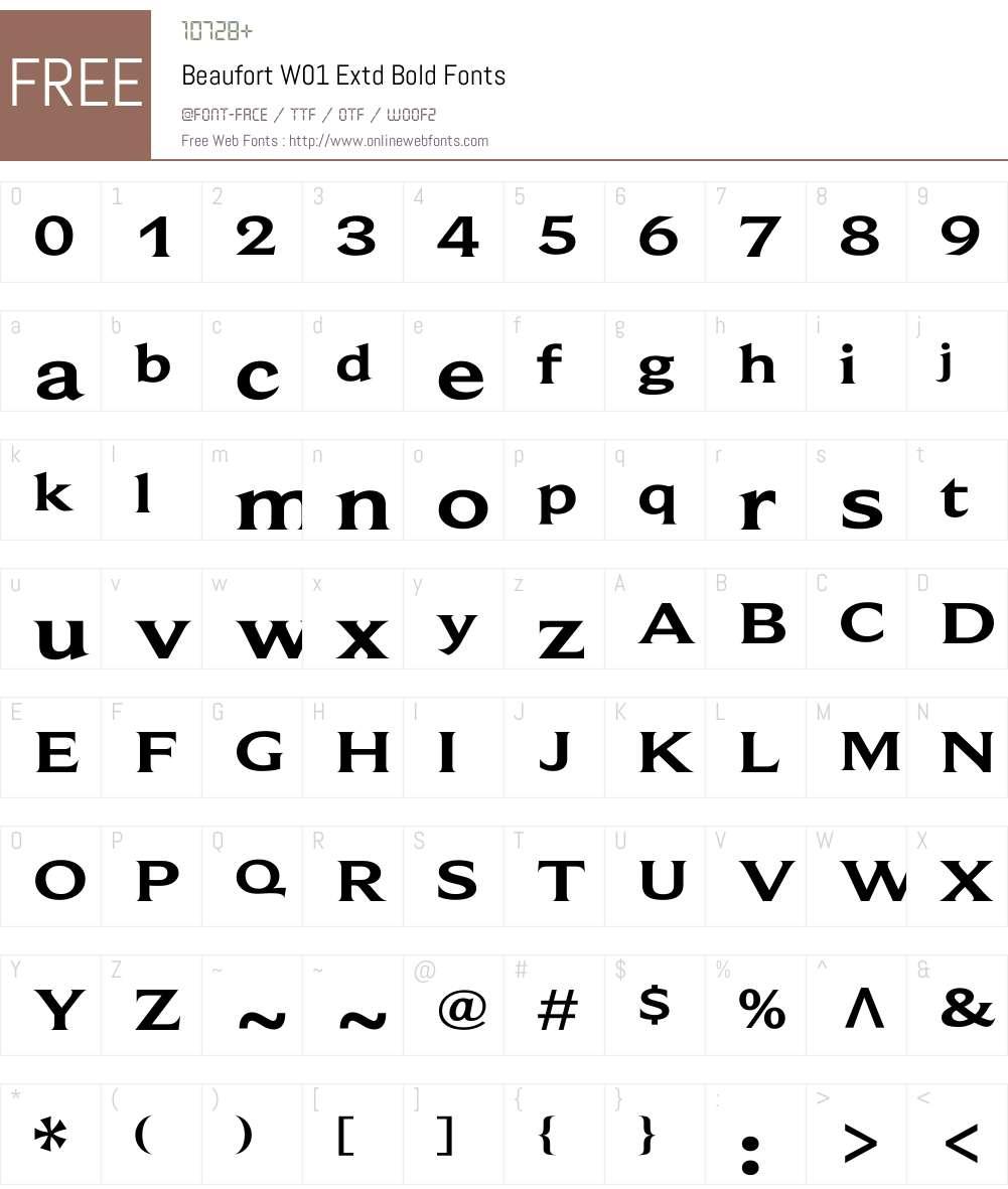 BeaufortW01-ExtdBold Font Screenshots