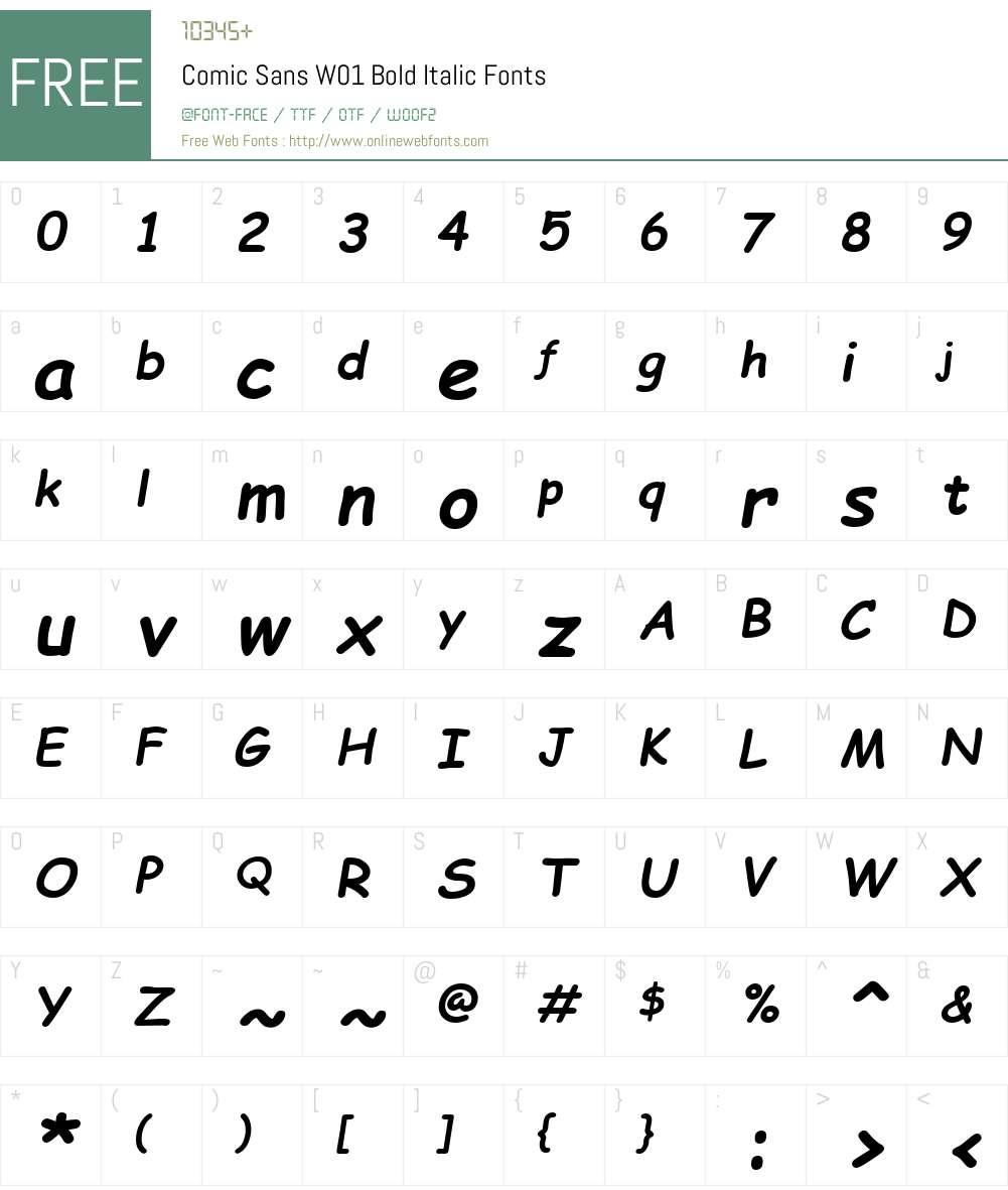 ComicSansW01-BoldItalic Font Screenshots