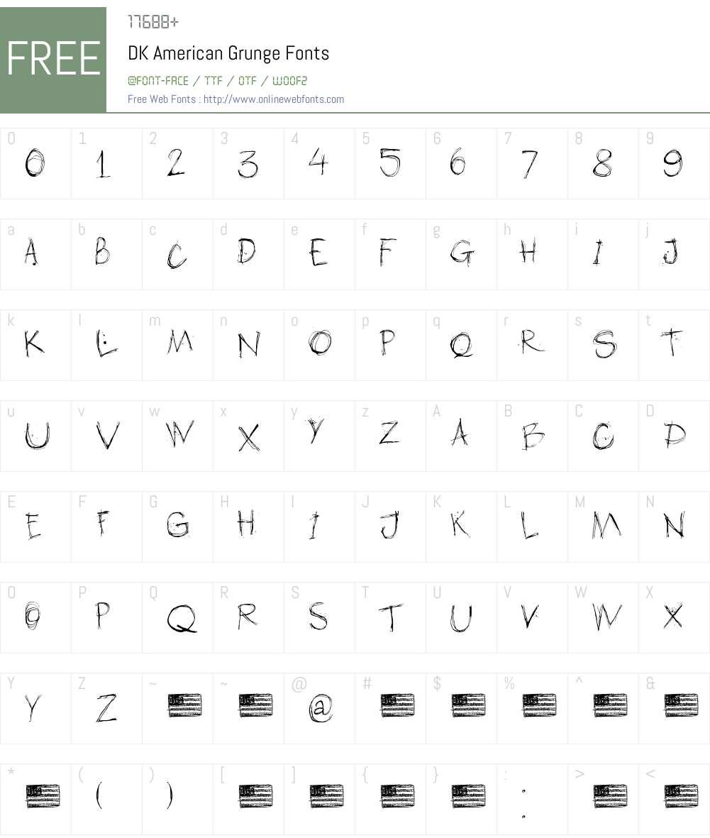 DK American Grunge Font Screenshots