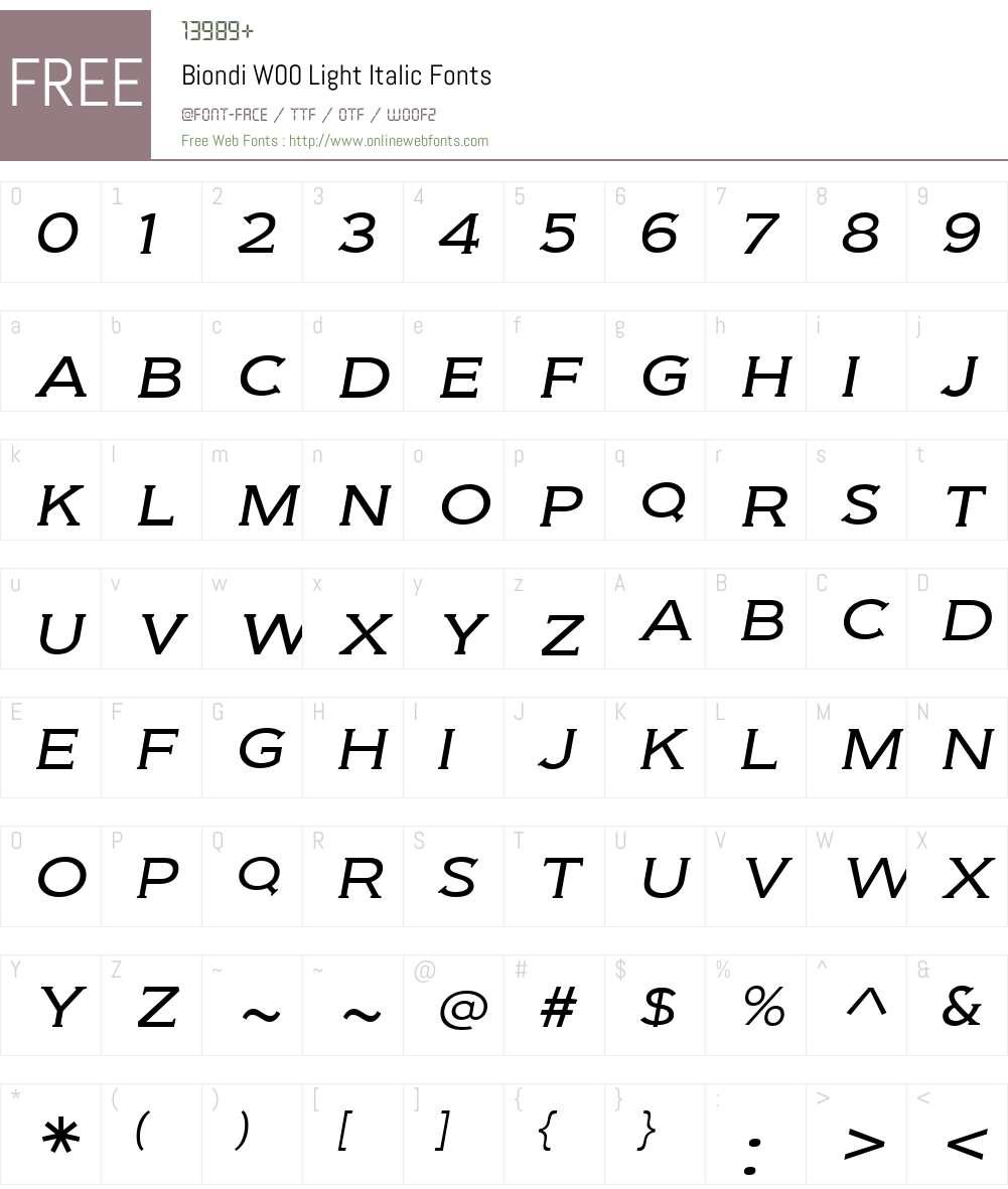 BiondiW00-LightItalic Font Screenshots
