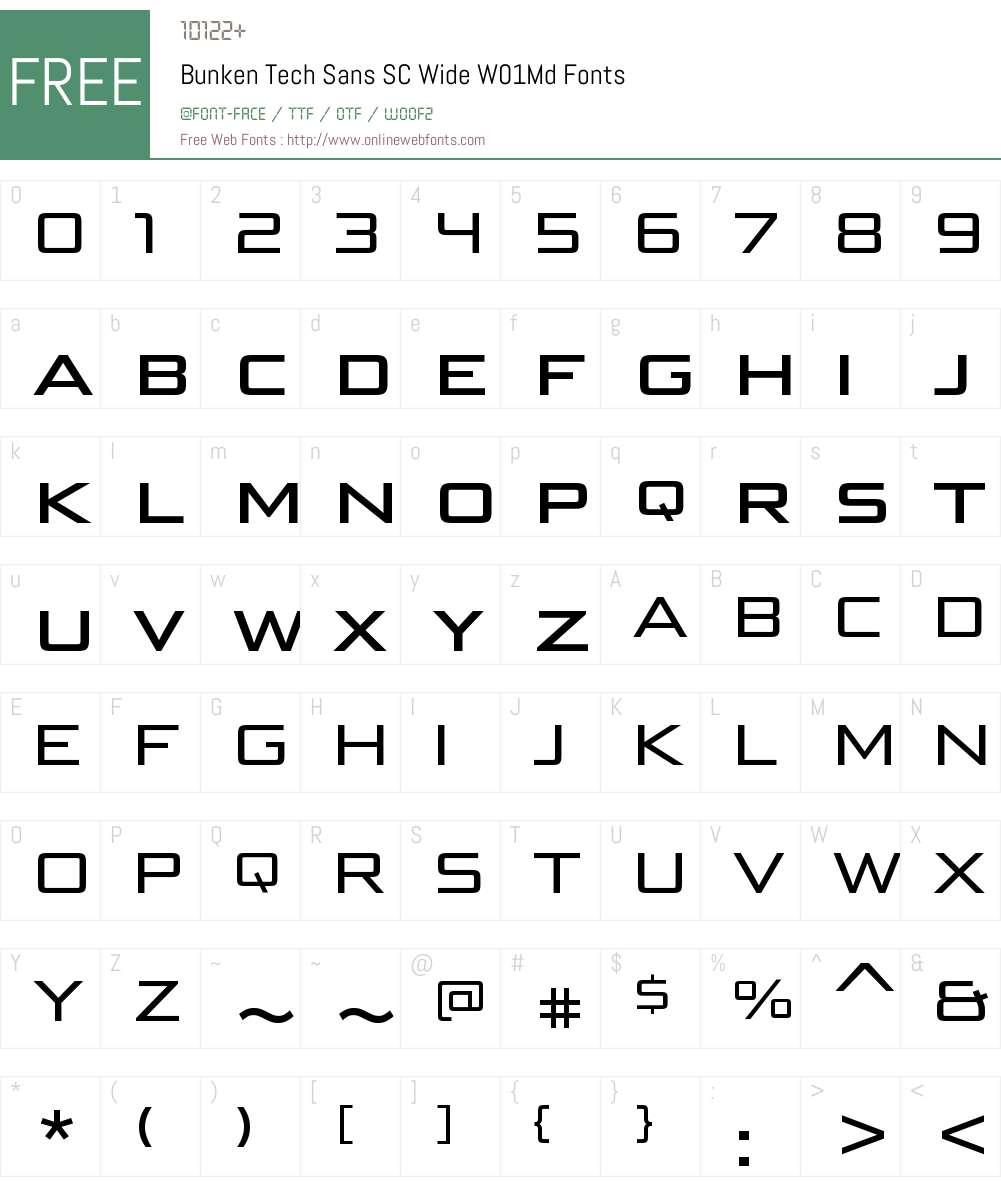 BunkenTechSansSCWideW01-Md Font Screenshots