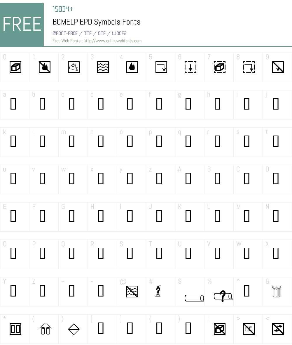 BCMELP EPD Symbols Font Screenshots