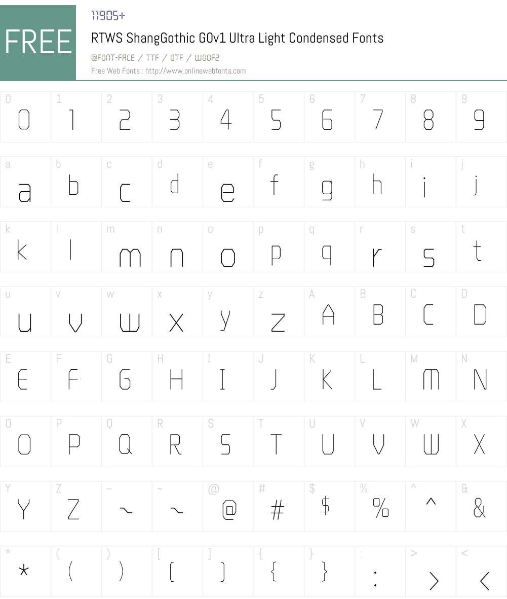 RTWS ShangGothic G0v1 Ultra Light Condensed Font Screenshots