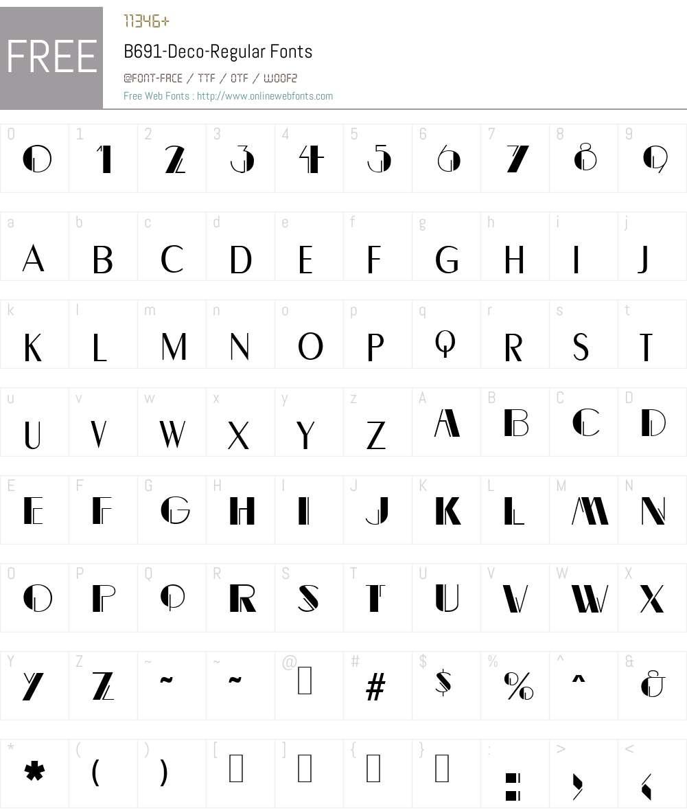B691-Deco Font Screenshots