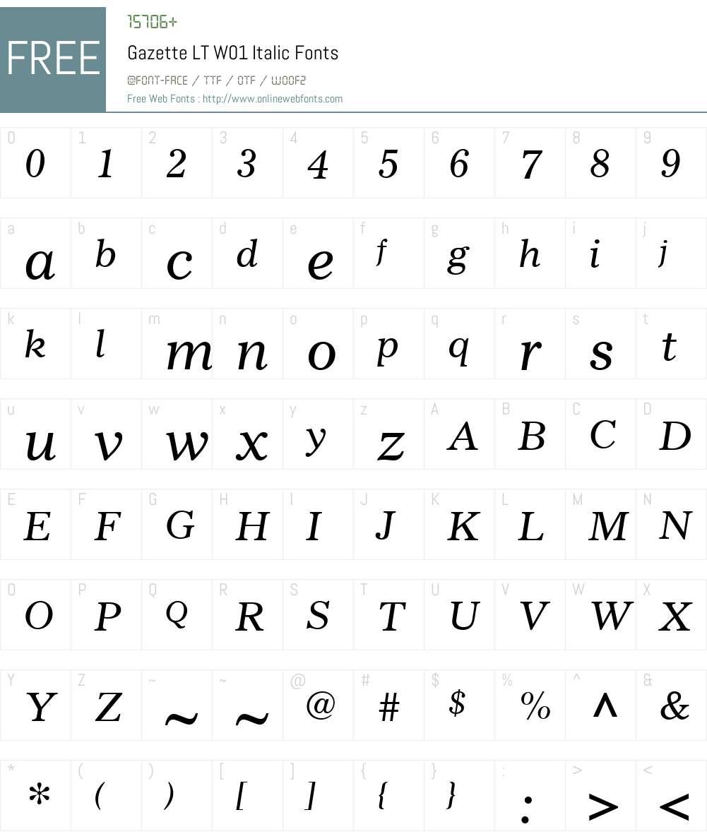 GazetteLTW01-Italic Font Screenshots