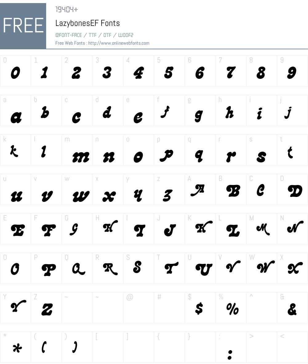 LazybonesEF Font Screenshots