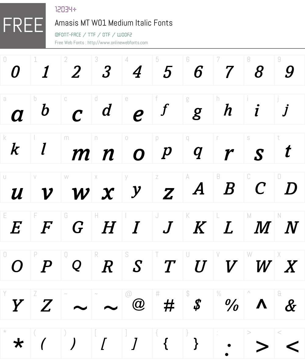 AmasisMTW01-MediumItalic Font Screenshots