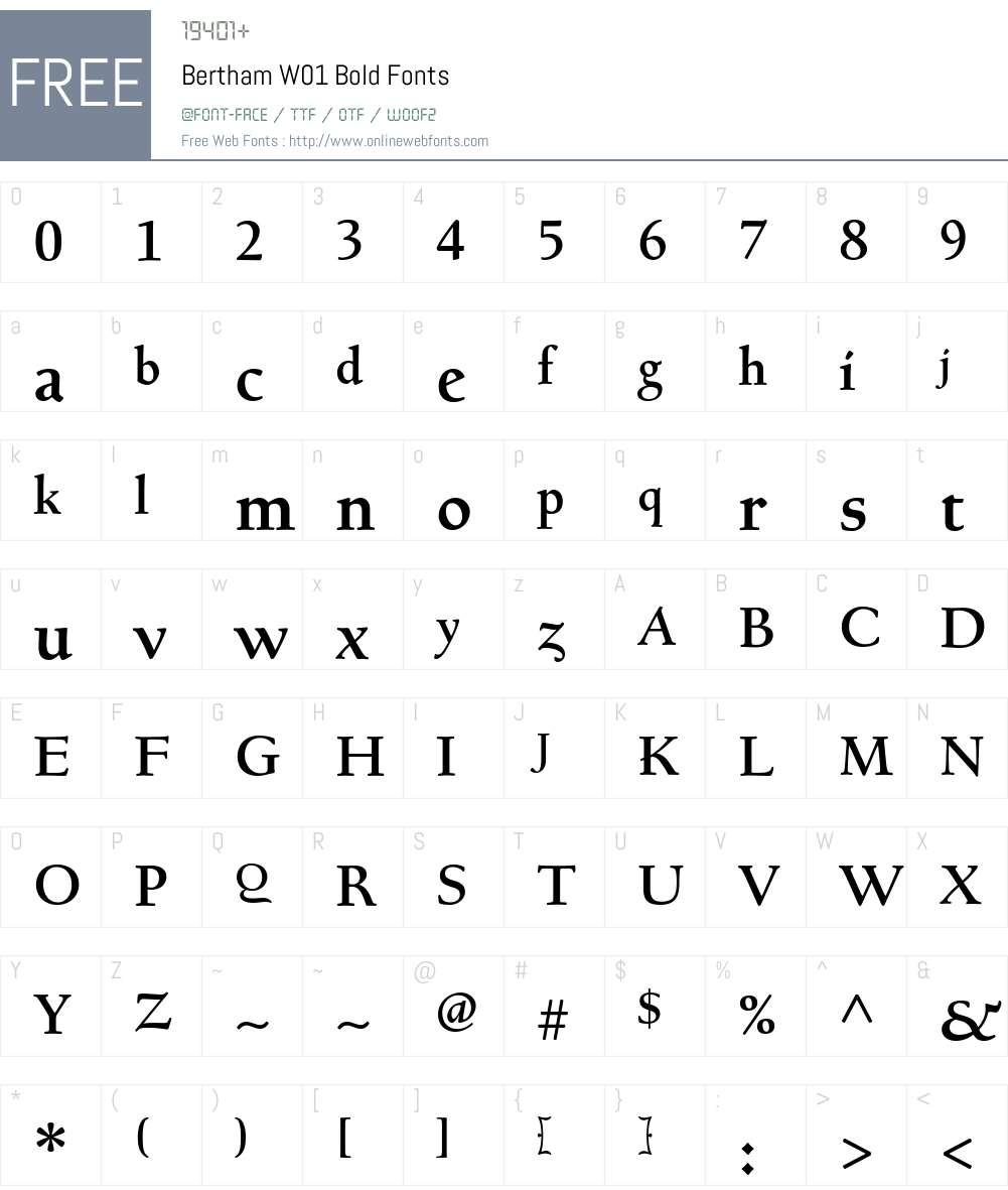 BerthamW01-Bold Font Screenshots