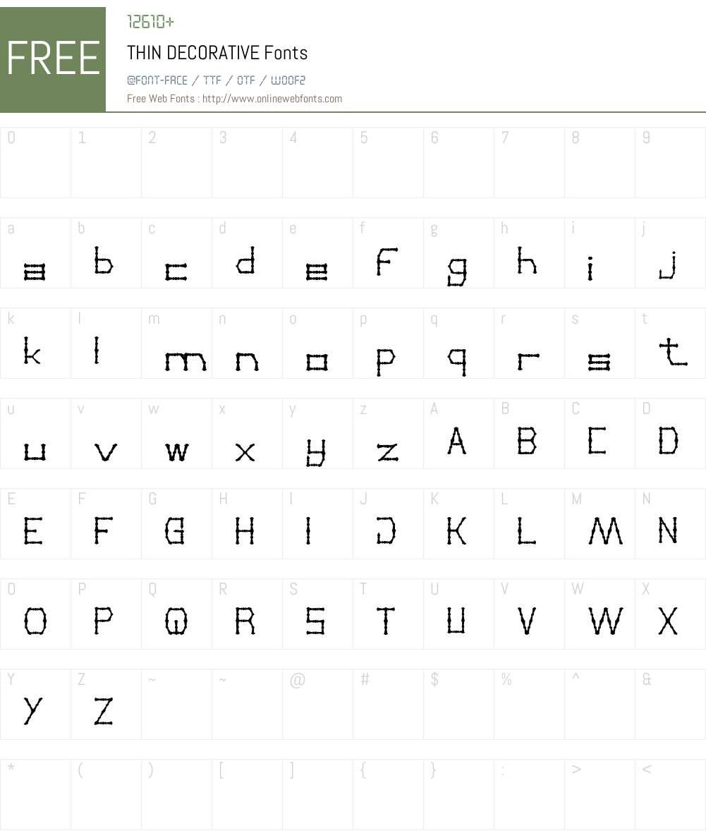 THIN DECORATIVE Font Screenshots