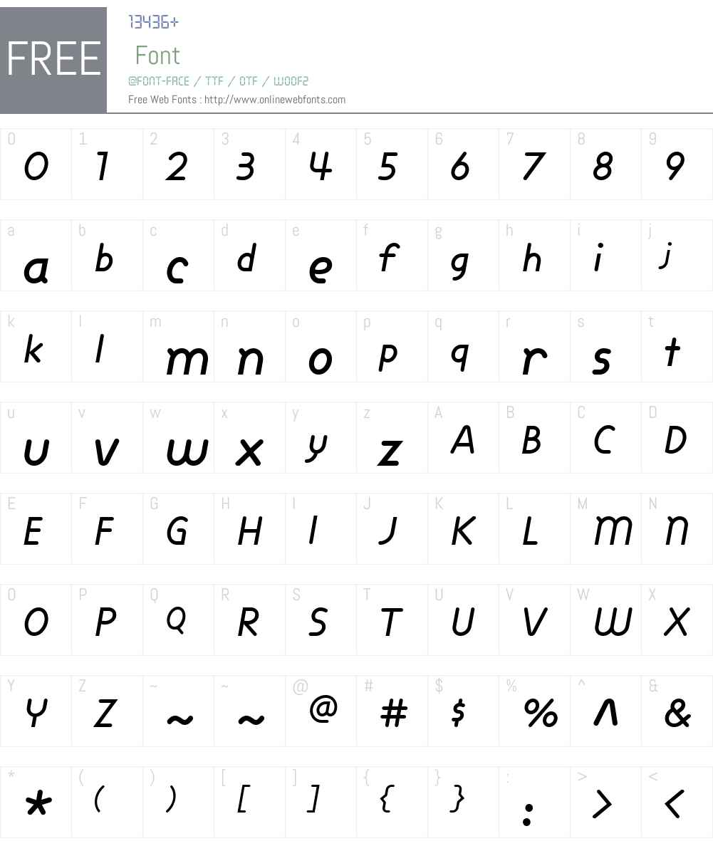 DixonW00-MediumItalic Font Screenshots