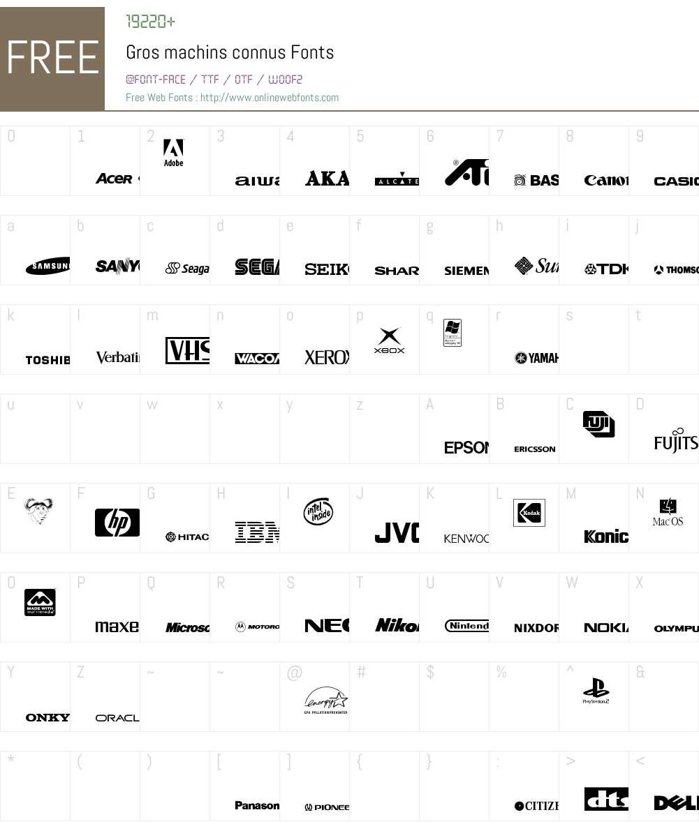 Gros machins connus Font Screenshots