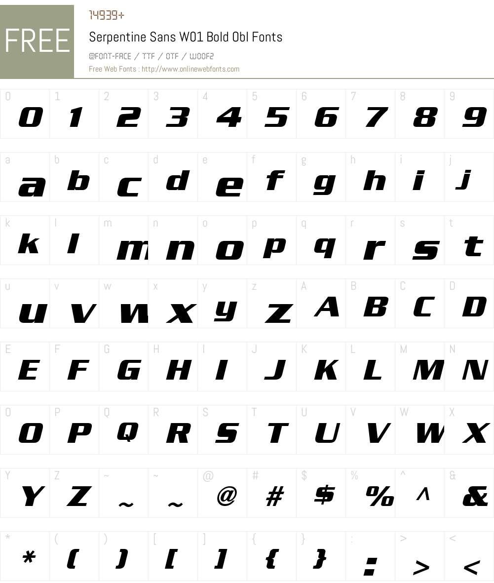 SerpentineSansW01-BoldObl Font Screenshots