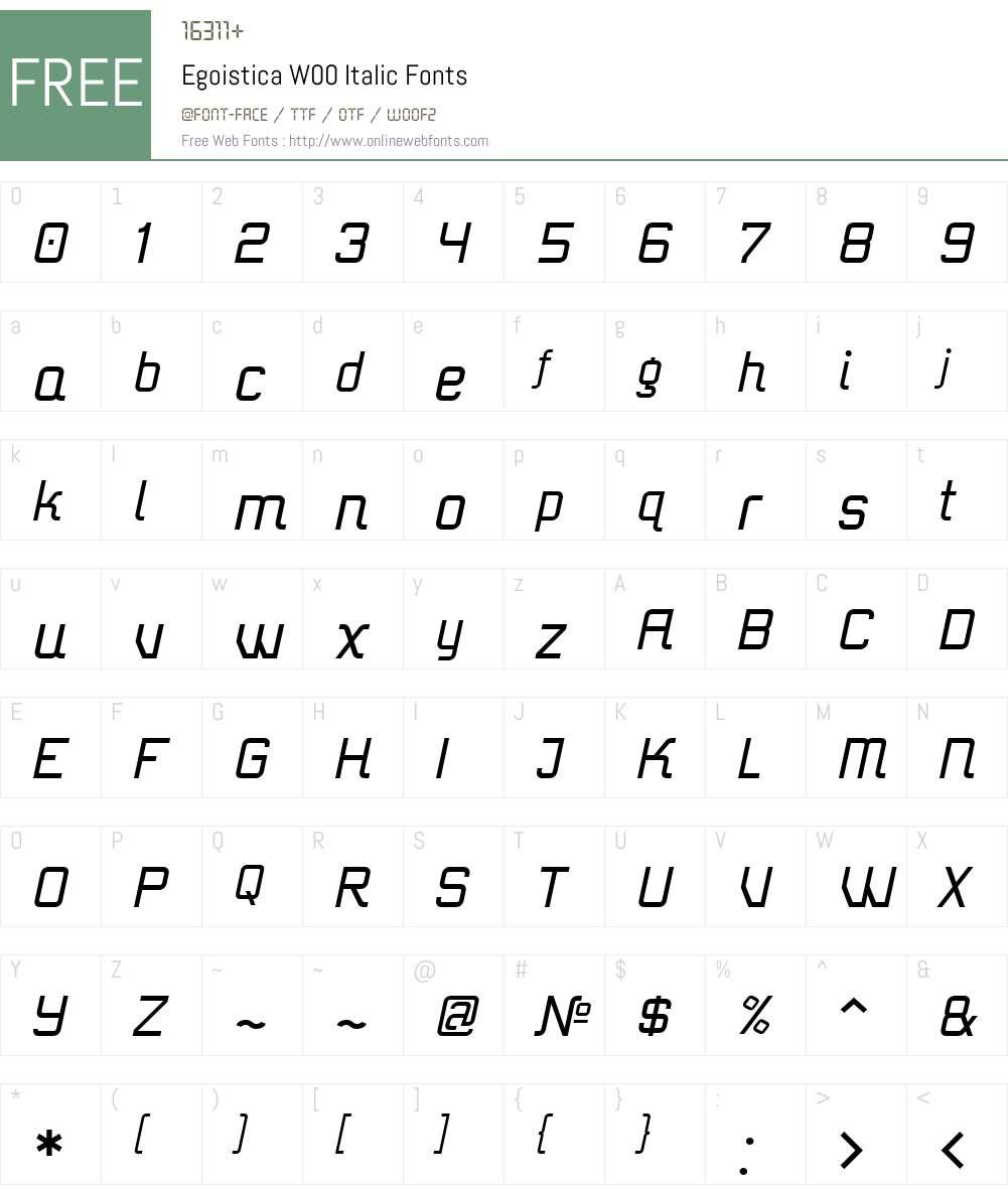 EgoisticaW00-Italic Font Screenshots