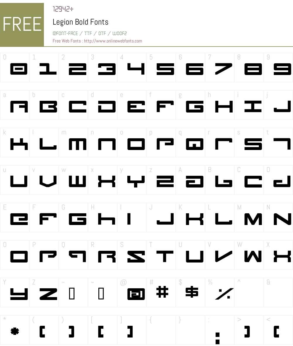 Legion Bold Font Screenshots