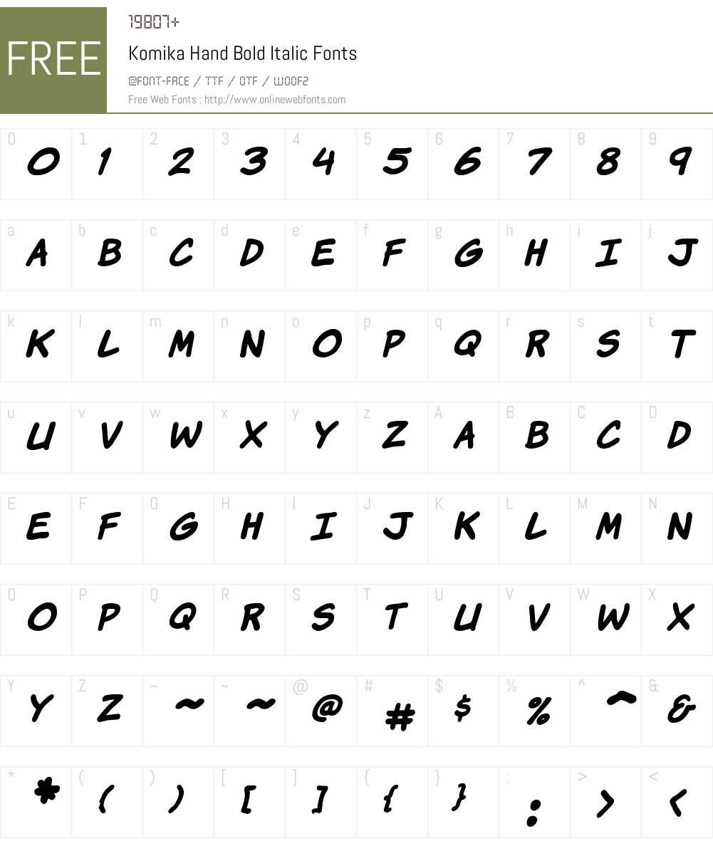 Komika Hand Font Screenshots