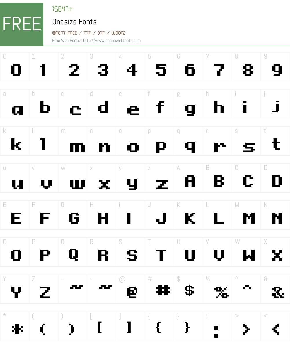 Onesize Font Screenshots