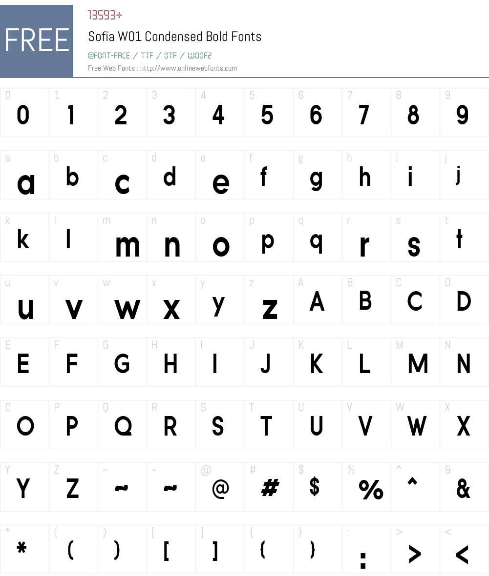 SofiaW01-CondensedBold Font Screenshots