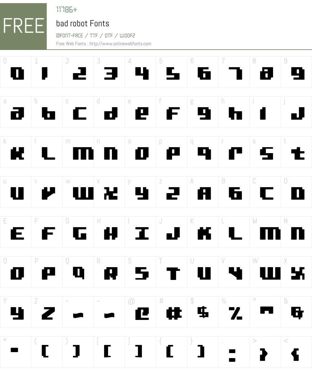 bad robot Font Screenshots